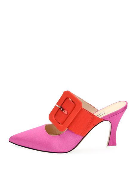 Chloe Buckle-Strap Mule Pump, Pink/Red