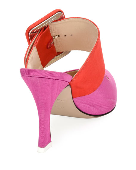 Chloe Buckle-Strap Mule Pump, Pink/Red