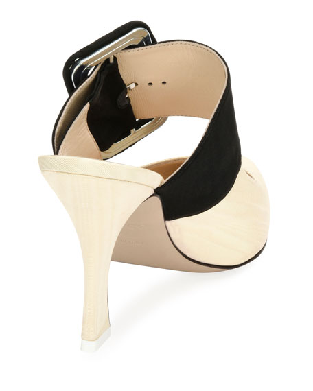 Chloe Buckle-Strap Mule Pump, White/Black
