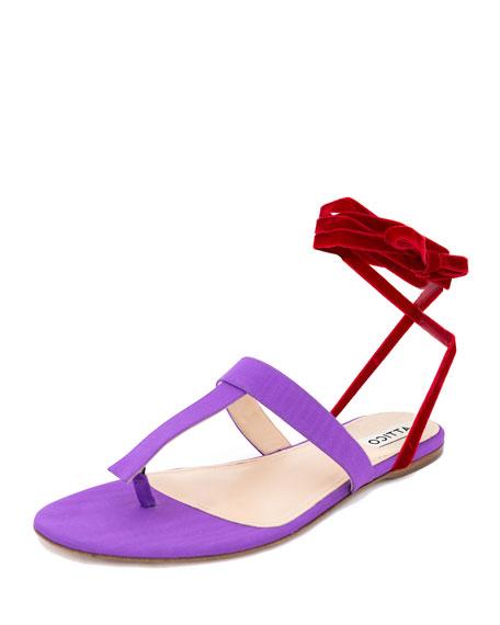 Vanessa Moire Ankle-Wrap Sandal