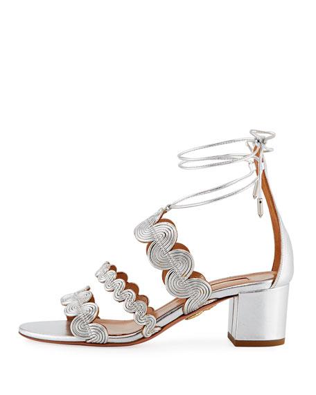 Jodhpur Metallic Ankle-Wrap Sandal