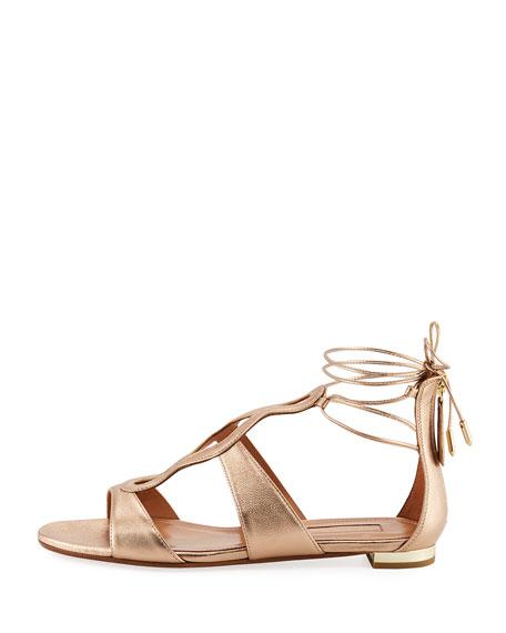 Flirt Metallic Flat Ankle-Tie Sandal