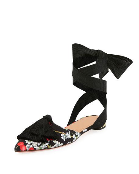 Aquazzura Love Tassel Printed Ankle-Tie Flat