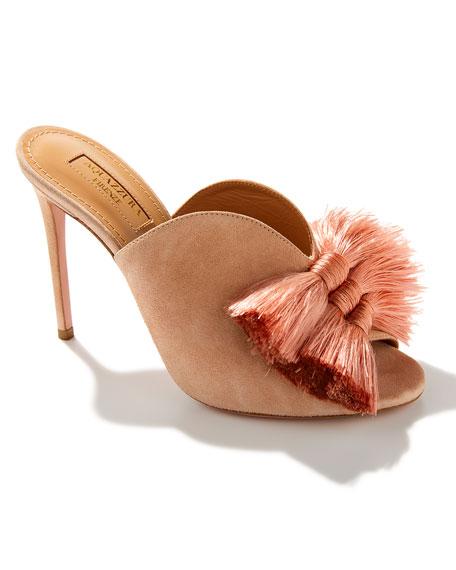 Lotus Blossom Tassel-Trim Mule Sandal
