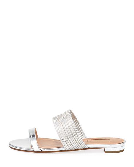 Metallic Strappy Slide Sandal