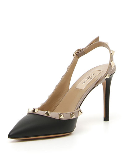 Rockstud Leather 85mm Slingback Pump