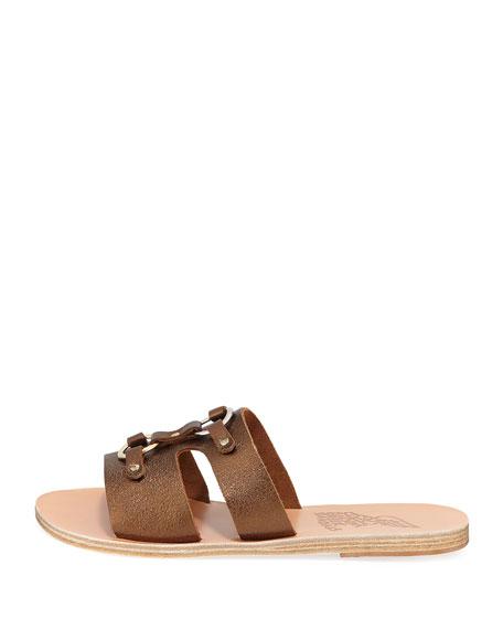 Attiki Flat Metallic Leather Slide Sandal