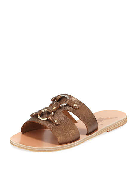 648681882c988 Ancient Greek Sandals Attiki Flat Metallic Leather Slide Sandal