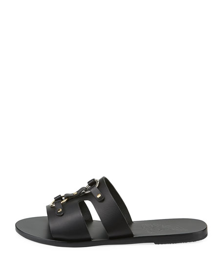 Attiki Flat Leather Slide Sandal