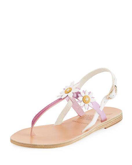Sylvie Leather T-Strap Sandal w/ Flower Appliqués