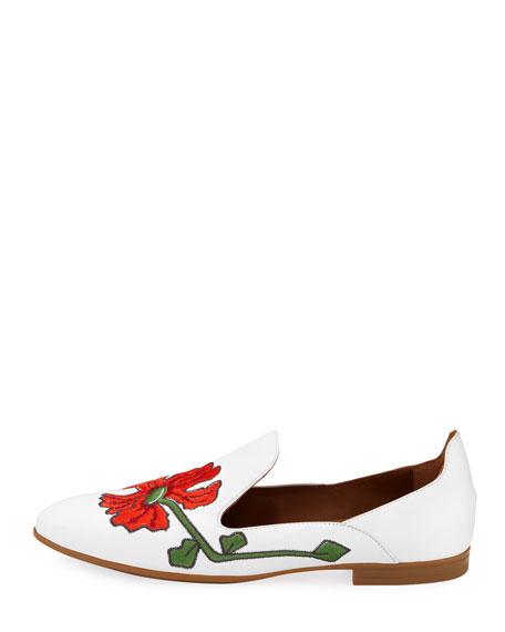 Emmaline Floral-Embroidered Leather Loafer