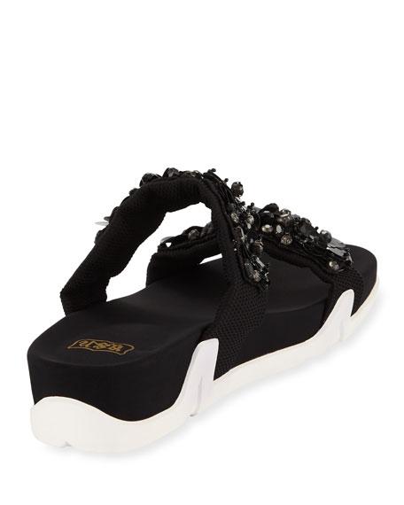 Oman Flowers Crystal-Embellished Slide Sandal