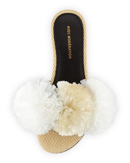 Bora Bora Raffia Pompom Slide Sandals, White
