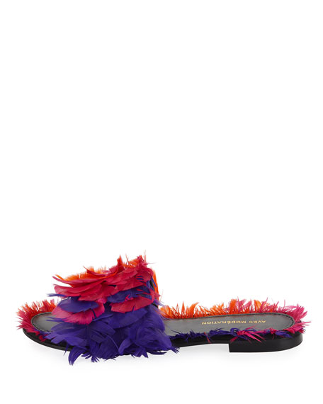 Bora Bora Feather-Embellished Slide Sandal