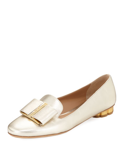 Metallic Loafer with Vara Bow