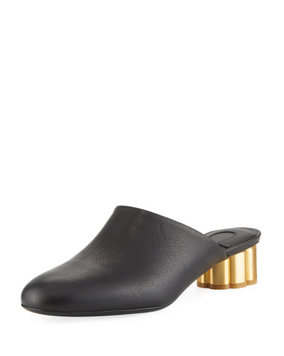 Leather Slide Mule with Flower Heel, Black