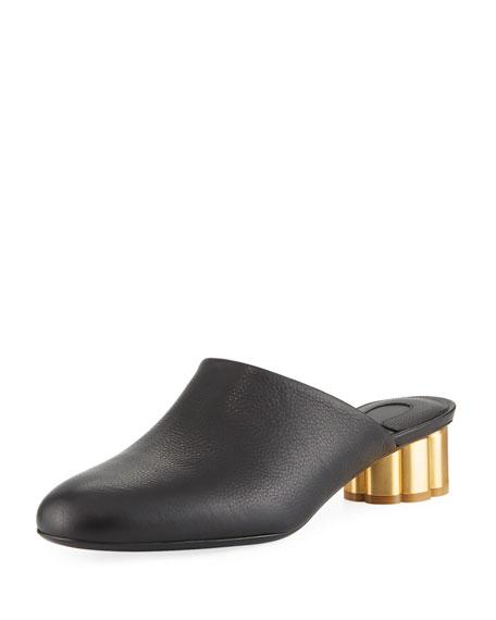 Leather Slide Mule with Flower Heel, Black