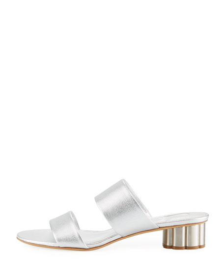 Metallic Leather Slide Sandal