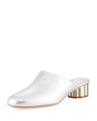 Leather Slide Mule with Flower Heel, Silver