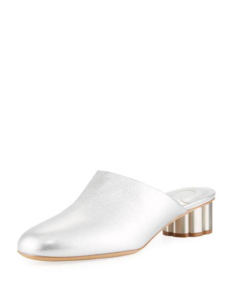 Leather Slide Mule with Flower Heel, Silver