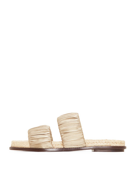 Marcela Satin Double-Strap Slide Flat Sandal