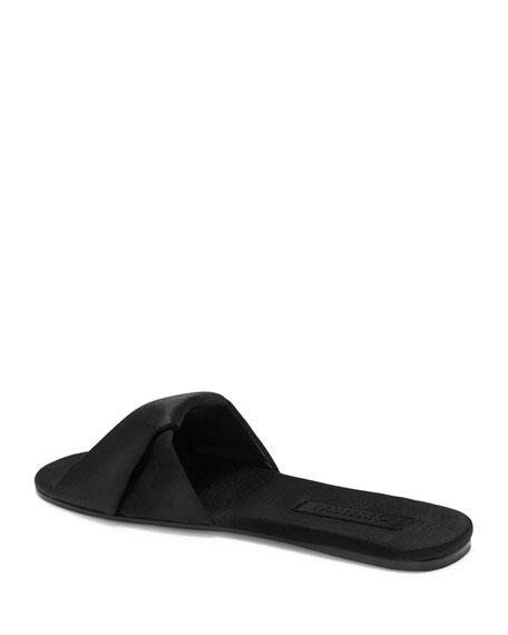 Paulita Satin Flat Slide Sandal