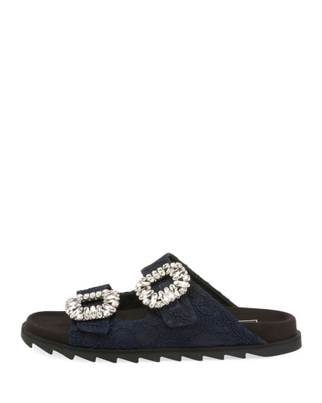 Slidy Viv Strass-Buckle Mesh Two-Band Slide Sandal