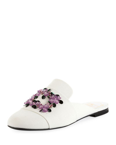 Violet Floral-Embroidered Canvas Loafer Mule
