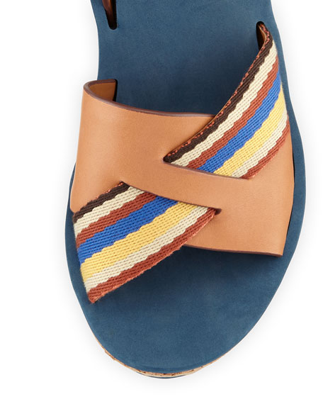 Striped Crisscross Wedge Sandal