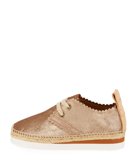 Scalloped Metallic Leather Platform Sneakers