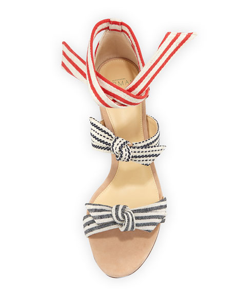 Lolita Striped Block-Heel Sandal