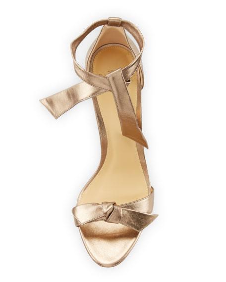 Clarita Metallic Leather Ankle-Tie Sandal