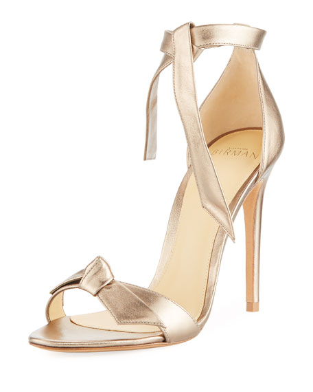 Clarita Metallic Leather Ankle-Tie Sandal