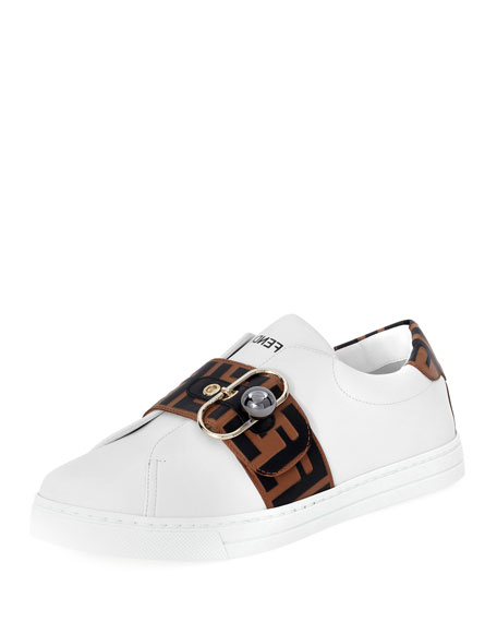 Pearland Leather Sneakers With Ff Strap in White