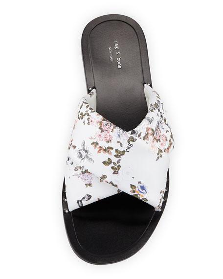 Keaton Floral-Print Leather Slide Sandal