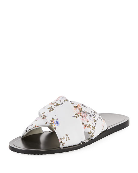 Keaton Floral-Print Leather Slide Sandal