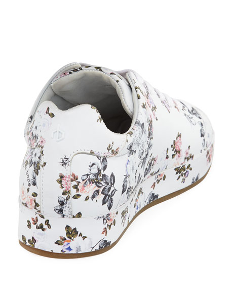 Floral-Print Leather Sneaker