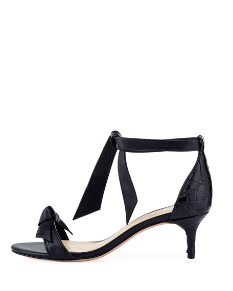 Clarita 50mm Crocodile Bow Sandal, Black