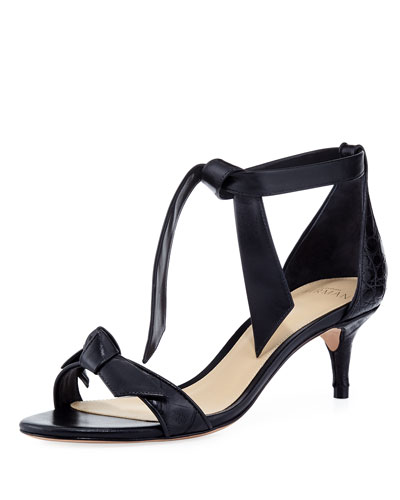 Clarita 50mm Crocodile Bow Sandal, Black