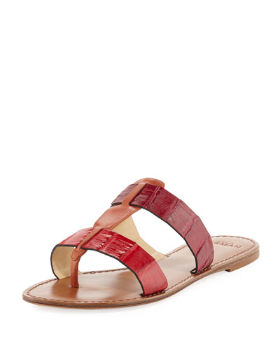Carmina Crocodile Slide Sandal, Red