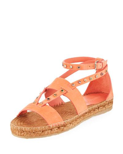 Denise Flat Studded Espadrille Sandal