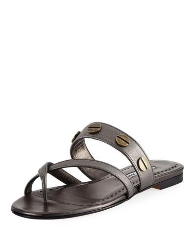 Scrusa Studded Flat Slide Sandal