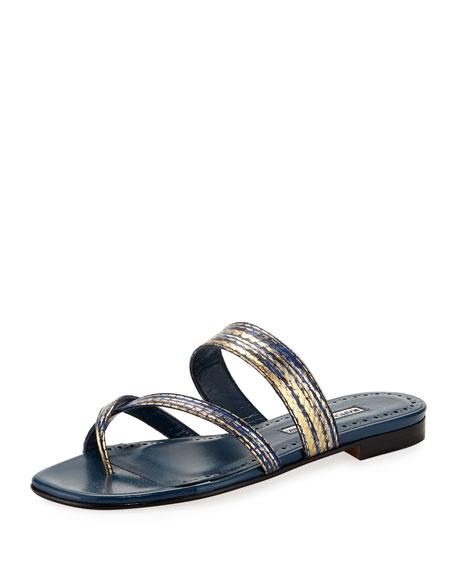 Susa Snakeskin Flat Slide Sandal