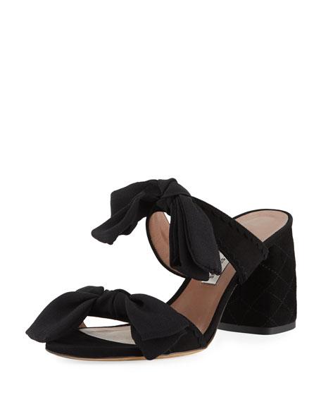 Barbi Bow Suede Slide Sandal, Black