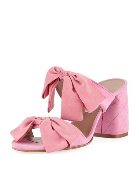 Barbi Bow Suede Slide Sandal, Pink