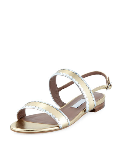 Flat Two-Band Metallic Leather Sandal