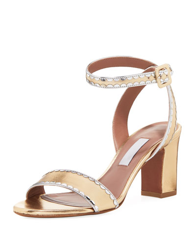 Leticia Scalloped Metallic Sandal