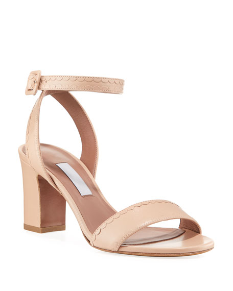 Leticia Scalloped Leather Sandal