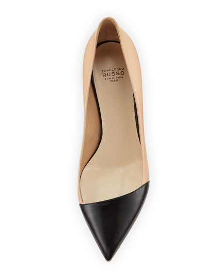 25mm Angled Cap-Toe Leather Pump