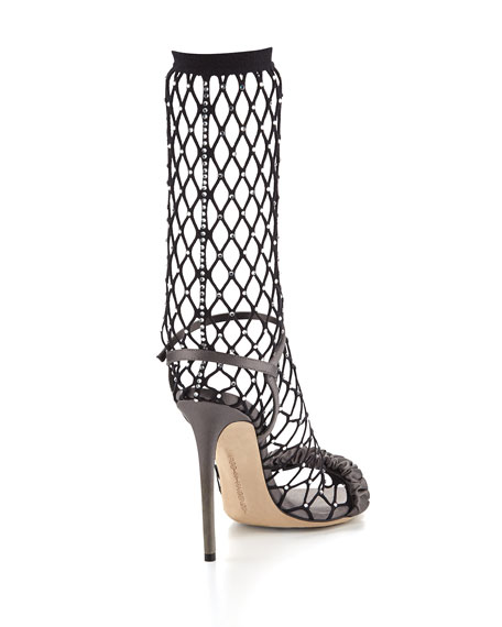 Crystal-Embellished Fishnet Sandal
